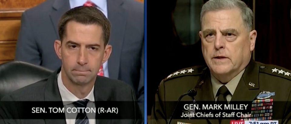 Sen. Tom Cotton questions Joint Chiefs Chairman Mark Milley. Screenshot/Fox News