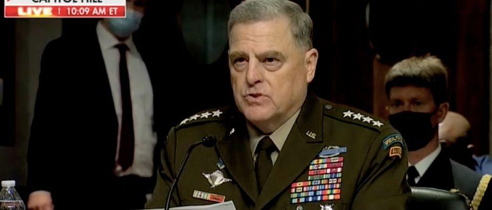 Mark Milley testifies before the Senate Armed Services Committee. Screenshot/Fox News