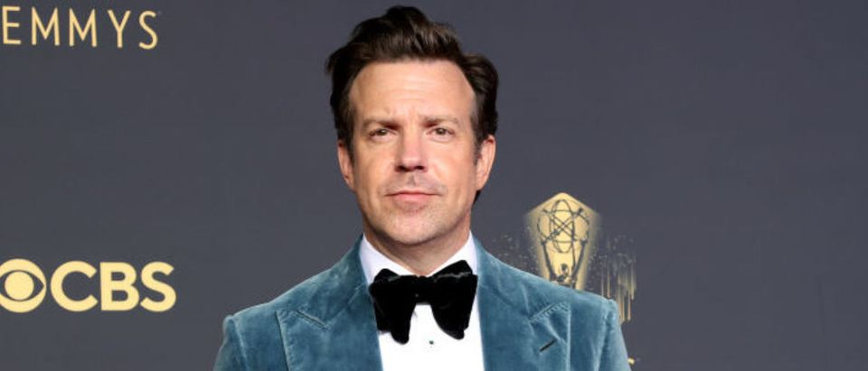 LOS ANGELES, CALIFORNIA - SEPTEMBER 19: Jason Sudeikis, winner of Outstanding Lead Actor in a Comedy Series for 'Ted Lasso', poses in the press room during the 73rd Primetime Emmy Awards at L.A. LIVE on September 19, 2021 in Los Angeles, California. (Photo by Rich Fury/Getty Images)