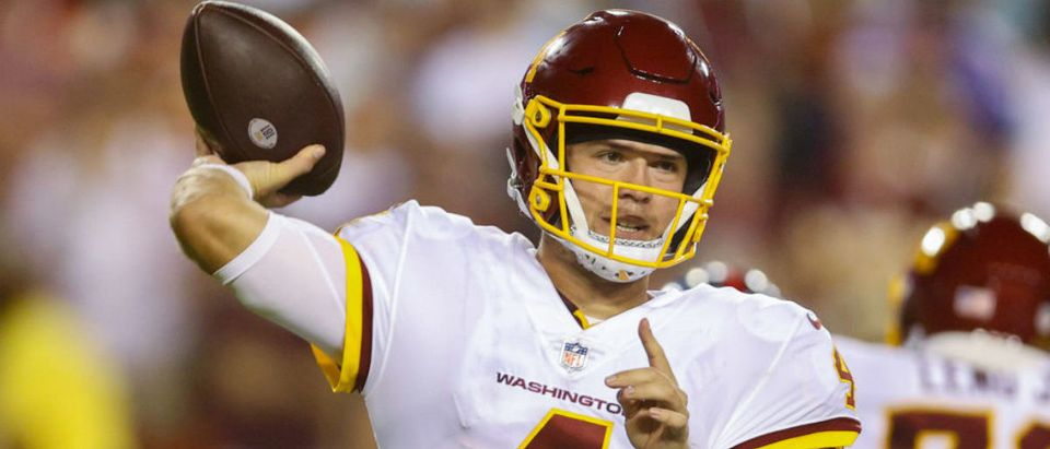 LANDOVER, MARYLAND - SEPTEMBER 16: Taylor Heinicke #4 of the Washington Football Team throws during the second quarter against the New York Giants at FedExField on September 16, 2021 in Landover, Maryland. (Photo by Rob Carr/Getty Images)