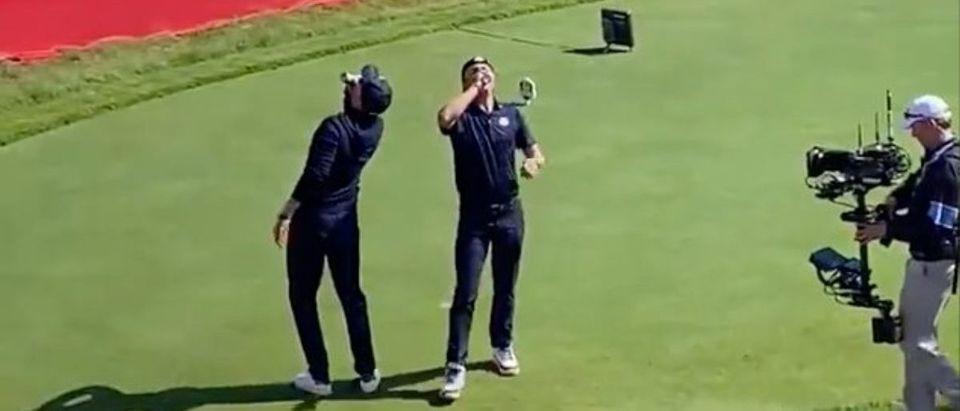 golf stars chug beer