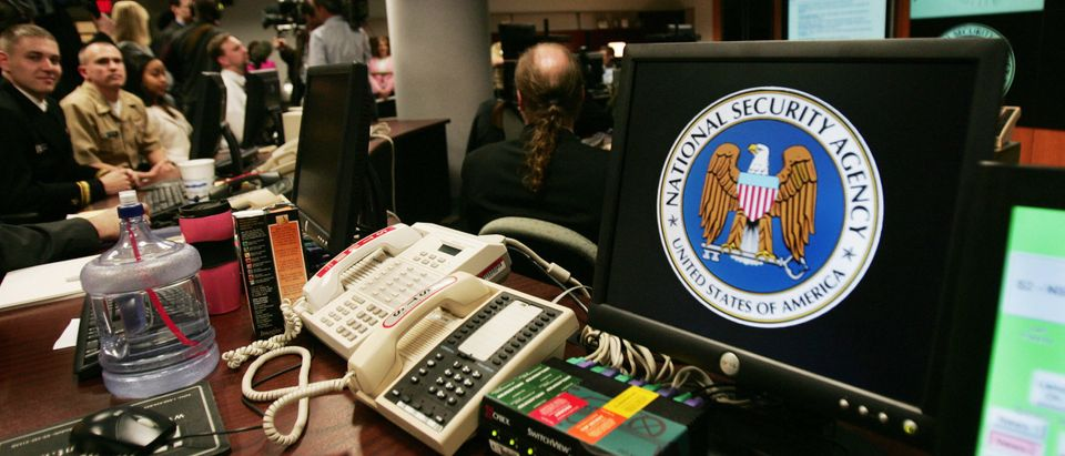 A computer workstation bears the National Security Agency (NSA) logo inside the Threat Operations Center inside the Washington suburb of Fort Meade, Maryland. (Photo by PAUL J. RICHARDS/AFP via Getty Images)