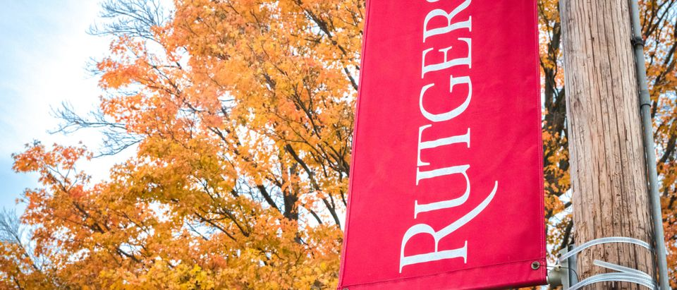 Rutgers University logo flag [Shutterstock/Benjamin Clapp]