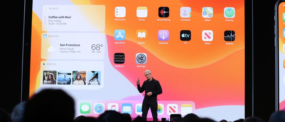 Apple CEO Tim Cook delivers the keynote address during the 2019 Apple Worldwide Developer Conference (WWDC) at the San Jose Convention Center on June 03, 2019 in San Jose, California. The WWDC runs through June 7. (Photo by Justin Sullivan/Getty Images)
