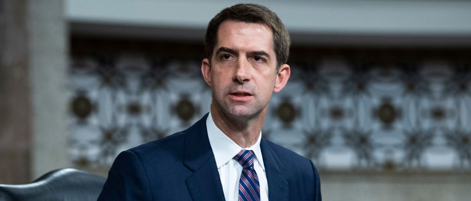 Sen. Tom Cotton, R-Ark., asks a question during the Senate Judiciary Committee confirmation hearing in Dirksen Senate Office Building on April 28, 2021 in Washington, DC. (Photo By Tom Williams-Pool/Getty Images)