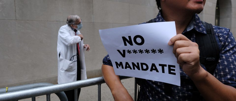 Protestors Rally Against Vaccination Mandates For Hospital Workers In NYC