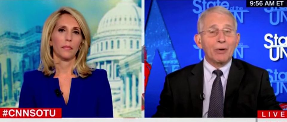 """Dana Bash and Anthony Fauci appear on """"State of the Union."""" Screenshot/CNN"""