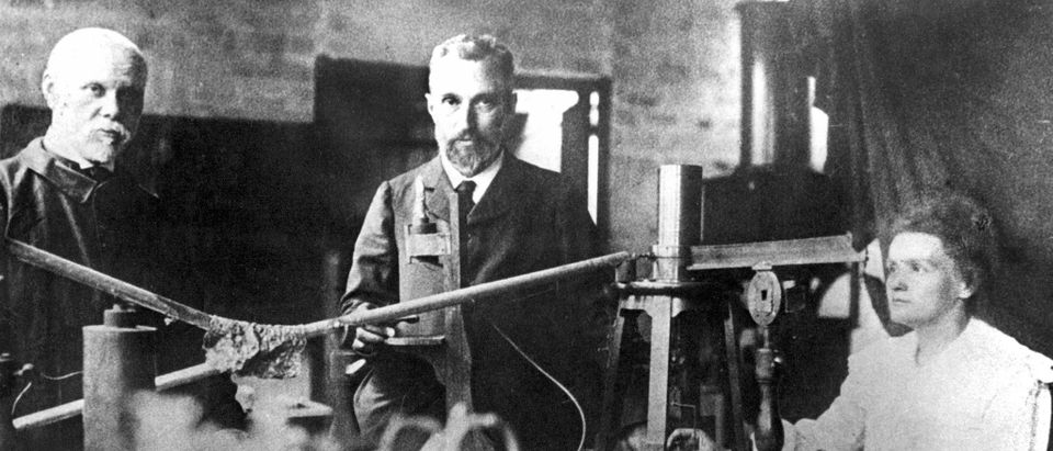 Picture dated probably 1900 shows Marie Curie (r),