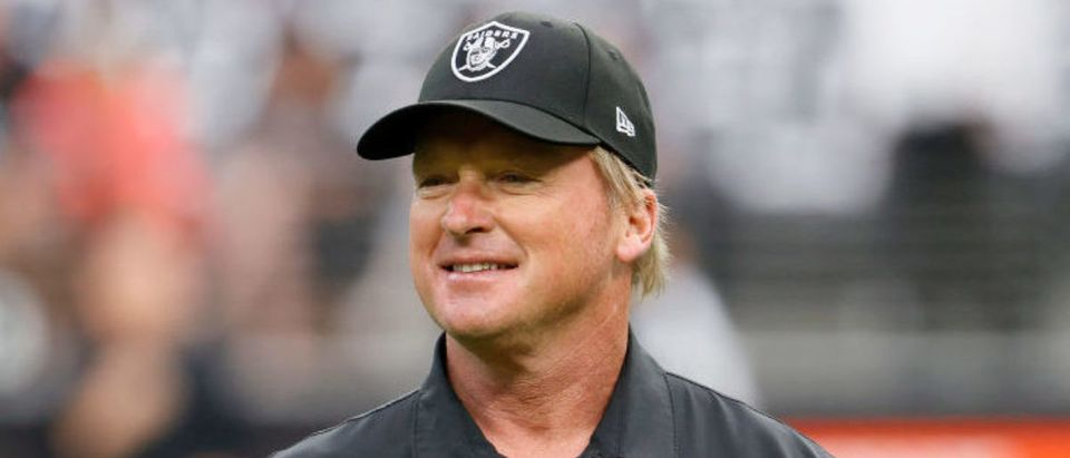 LAS VEGAS, NEVADA - OCTOBER 10: Head coach John Gruden of the Las Vegas Raiders looks on before a game against the Chicago Bears at Allegiant Stadium on October 10, 2021 in Las Vegas, Nevada. (Photo by Ethan Miller/Getty Images)