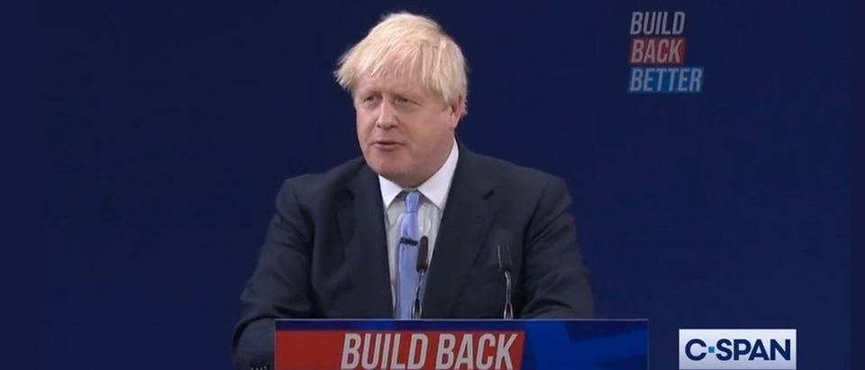 British Prime Minister Boris Johnson Speaking At Conservative Party Conference