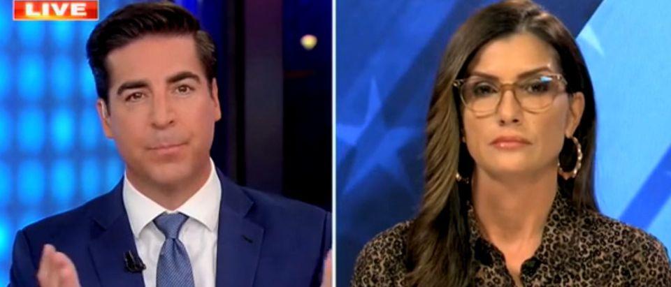 "Jesse Watters and Dana Loesch appear on ""Fox News Primetime."" Screenshot/Fox News"