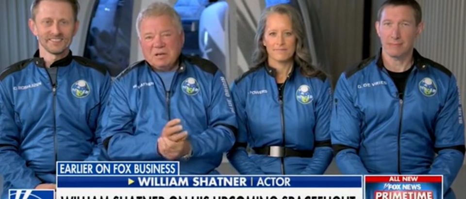 """William Shatner and other members of his Blue Origin space flight crew appear on """"Your World."""" Screenshot/Fox News"""